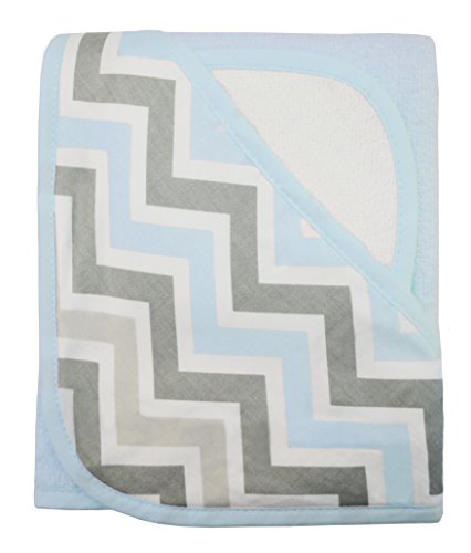 American Baby Company Terry Hooded Towel Set made with Organic Cotton, Blue ZigZag