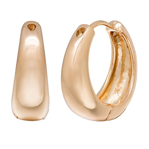 Romantic Time Smooth Surfaced Low-Profile Egyptian Vintage Style Hinge 18k Rose Gold Plated Hoop Earrings