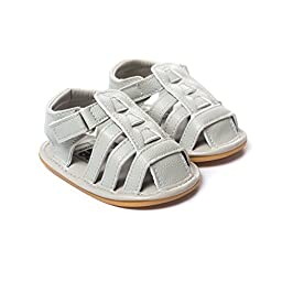LIVEBOX Infant Baby Boys and Girls Moccasins Premium Soft Rubber Sole Anti-Slip Summer Prewalker Toddler Sandals(S: 0~6 months,Grey-2)