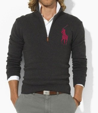 polo ralph lauren mens big pony fitted cotton half zip jumper sweater. Black Bedroom Furniture Sets. Home Design Ideas