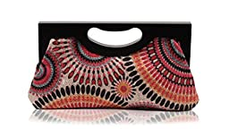 Scarleton Wood Framed Embroidered Clutch H300105 - Pink