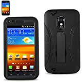 Premium Heavy Duty Hybrid Case for SPRINT GALAXY S2 EPIC TOUCH 4G - Model SGH D710 (Outer Silicone + Inner Hard Protector Case W/ Kickstand) Black