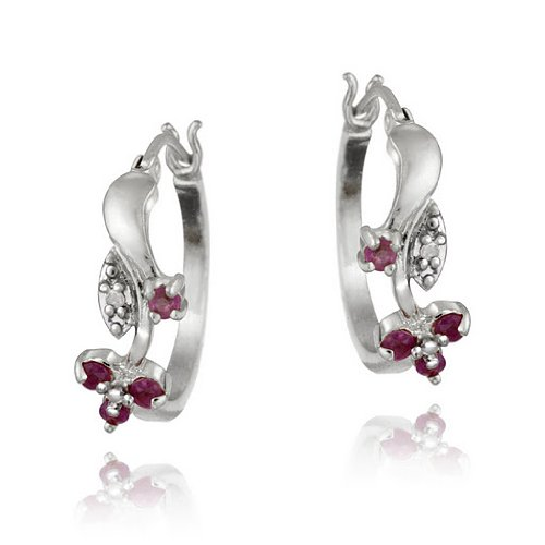 Sterling Silver Ruby & Diamond Accent Flower Hoop Earrings
