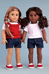 Picnic Time - 4 piece outfit includes white t-shirt, red tank top, denim shorts and red canvas shoes - American Girl Doll Clothes