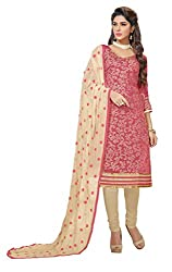 Women Icon Presents Embroidered Chanderi Dress Material(Pink,Beige)
