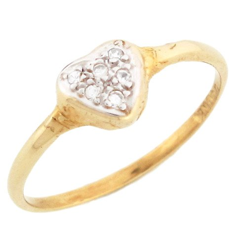10k Solid Gold Diamond Love Heart Promise Ring Jewelry