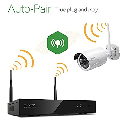[1TB Hard Drive Pre-installed] xmartO 4 Channel 960p HD Wireless Security Camera System with 4 HD 1.3MP Weatherproof Outdoor Night Vision Wireless IP Cameras and 1TB Hard Drive