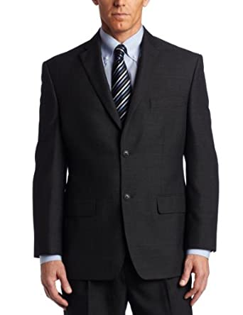 Haggar Men's Big And Tall Tonal Windowpane 2 Button Suit Separate Coat,  Charcoal Heather, 42 X-Long