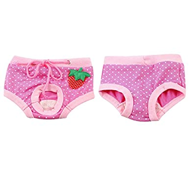 Dot Pattern Strawberry Detail Pet Dog Waist Diaper Pants Pink XS