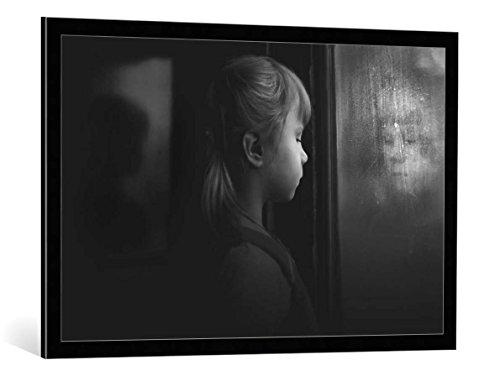 """Quadro con cornice: Ksana But """"Past Present Future"""" - stampa artistica decorativa, cornice di alta qualità, 100x65 cm, nero / angolo grigio"""