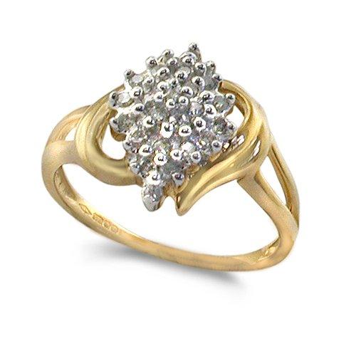 9ct Yellow Gold 0.25ct Diamond Set Diamond Shaped Cluster Ring - Size O