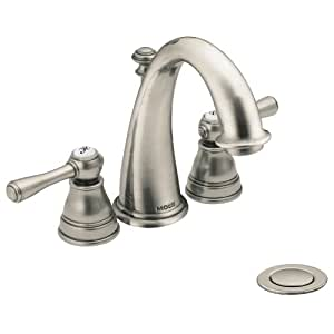 Moen T6123an Kingsley Two Handle High Arc Bathroom Faucet Antique Nickel Not Ca Vt Compliant