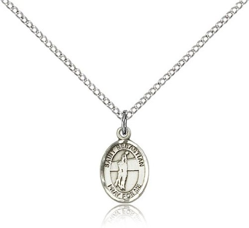 St. Sebastian Volleyball Medal, Sterling Silver, Small Dime Size