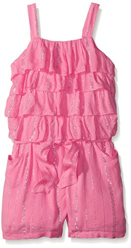 Limited Too Toddler Girls Lurex Crinkle Gauze Ruffle Top and Short Romper, Neon Pink, 3T