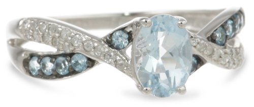 Sterling Silver Oval Aquamarine, Swiss Blue Topaz and Diamond Twist Ring, Size 7