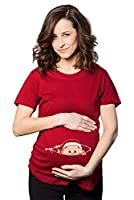 Christmas Baby Peeking Maternity T Shirt Funny Xmas Pregnancy Tee