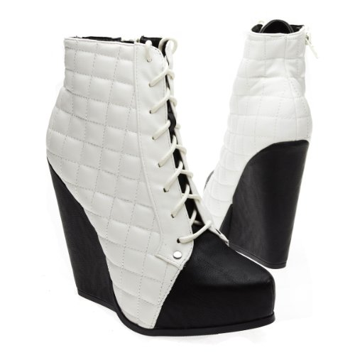 Qupid Womens Obstacle03 Closed Pointy Toe Quilted Lace Up Zipper Wedge Platform High Heel Ankle Bootie,Black Pu,6