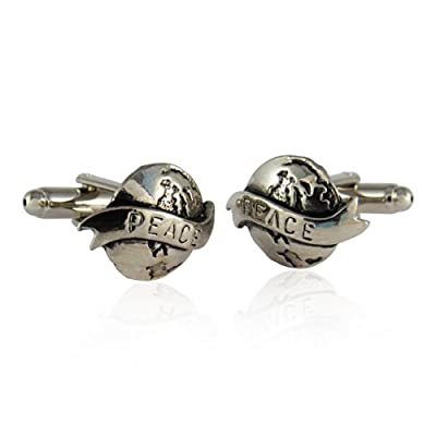 Silver World Peace Cufflinks with Gift Box