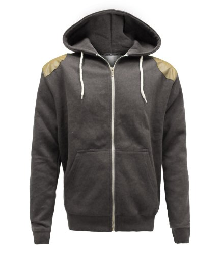 ENVY BOUTIQUE MENS HOODED CORD PATCH JUMPER SWEATSHIRT ZIP HOODIE CHARCOAL GREY SIZE XL