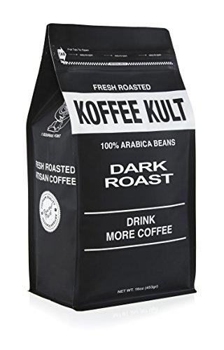 Koffee Kult Coffee Beans Dark Roasted (1 Lbs Whole Bean) Highest Quality Delicious Organically Sourced Fair Trade - Whole Bean Coffee - Fresh Gourmet Aromatic Artisan Blend (Whole Bean Coffee 1lb compare prices)
