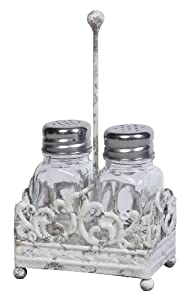 Creative Co-op Cottage Chic Metal Salt and Pepper Shaker Caddy with Glass Shaker, 7.5-Inch by Creative Co-op