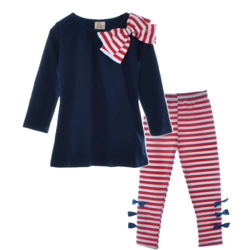 Bhl Girls Sets 3-8Y Striped Bow 2 Piece (4-5Y, Navy) front-220020