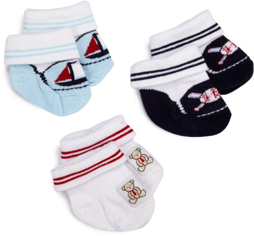 Little Me Baby-Boys Newborn Boat Ball And Bear 3 Pack Bootie Socks, White/Blue, 0-12 Months