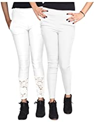 Xarans Stylish Looking Cotton Lycra Net, Button,Jegging Set Of 2 Pcs - B01KJEGL04