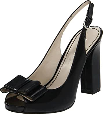 Nine West Women's Malibudaze Slingback Sandal,Black Leather,7.5 M US