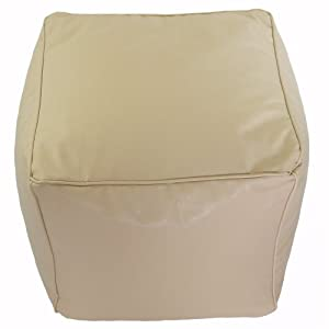 Faux Leather Plain Natural Cream Cube Foot Stool Pouffe Bean Bag with Filling