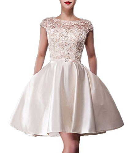 Fanhao Women's Bateau Neck Lace Beading Pockets Short Evening Gown Dress,Champagne,XS