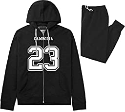 Country Of Cambodia 23 Team Sport Jersey Sweat Suit Sweatpants Large Black