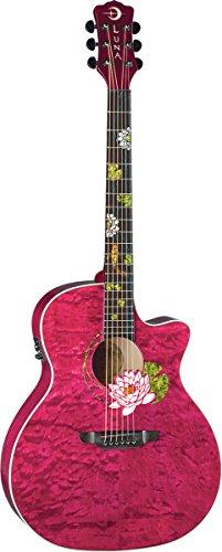 Luna Flora Series Lotus Custom Grand Concert Acoustic-Electric Guitar - Trans Merlot
