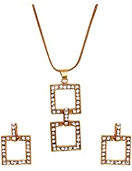 Mahi Crystal White Square Gold Plated Pendant Set For Women NL4101116G