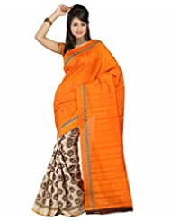Vibes Women's Bhagalpuri Art Silk Saree,With Blouse (VS51-VBK119_Orange)