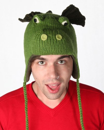 DeLux Dragon Green Wool Animal Cap/Hat - Limited Edition
