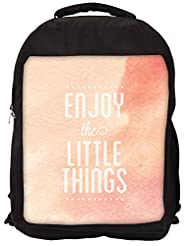 Snoogg Enjoy The Little Things Backpack Rucksack School Travel Unisex Casual Canvas Bag Bookbag Satchel