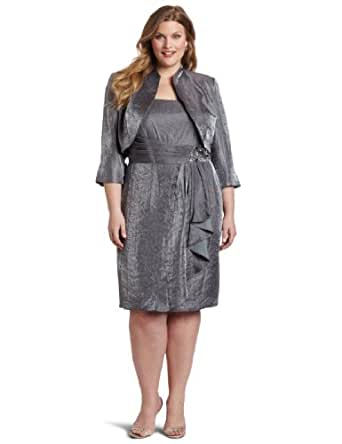 Jessica Howard Women's Plus-Size 2 Piece Mother Of The Bride Dress, Silver, 18W