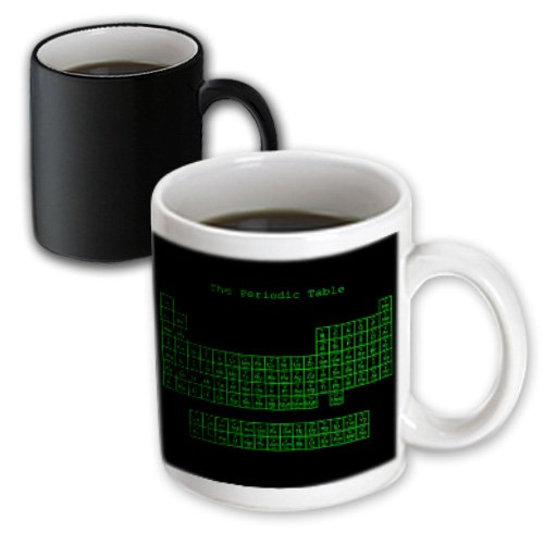 3Drose Neon Green On Black Periodic Table Computer Programmer Style, Magic Transforming Mug, 11-Oz