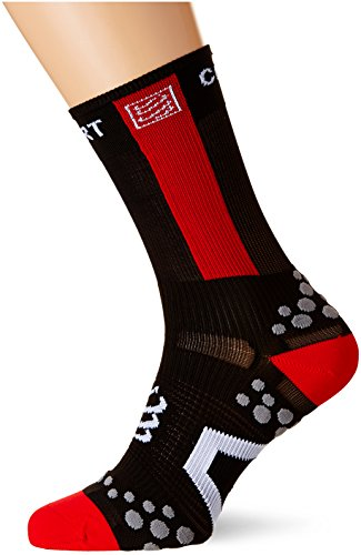 Compressport Racing Socks V2.1 Bike Hi Calzino Bici da Gara e Allenamento, Nero (Black/Red), T3