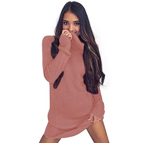 Sexy Maglioni , Reasoncool Donna sportiva a maniche lunghe dei ponticelli dolcevita maglioni cappotto camicetta (M, Rosa)