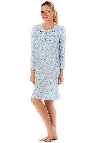 Casual Nights Women's Long Sleeve Cotton Blend Nightgown - Floral/Blue - X-Large