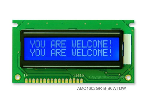16X2 Character Lcd Module White On Blue With White Backlight Amc1602Gr-B-B6Wtdw