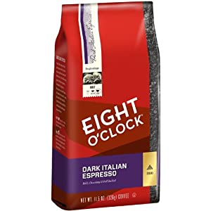 Eight O'Clock Dark Italian Espresso Ground Coffee, 11.5-Ounce Bags (Pack of 6)