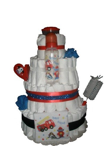 4 Tier Firefighter Puppy Diaper Cake