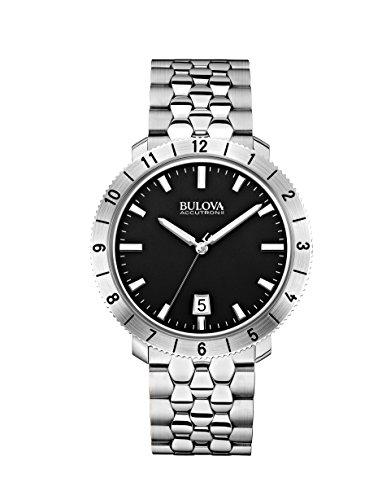 Bulova - 96B207 - Moonview - Montre Mixte - Quartz Analogique - Cadran Noir - Bracelet Acier Argent