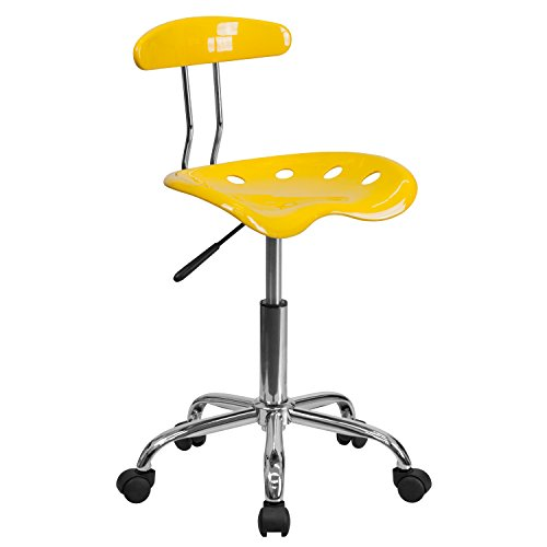 MFO Vibrant Orange-Yellow and Chrome Computer Task Chair with Tractor Seat