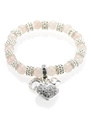 M&S Collection Diamanté Heart Charm Stretch Bracelet