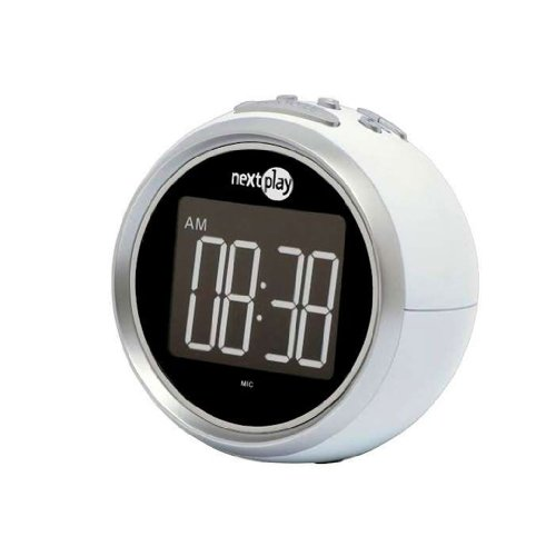 Nextplay NR695SD Voice Activated Alarm Clock + AM/FM Radio - White