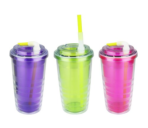 Set Of 3 - 16-Ounce Capacity Lock N Roll Tumbler, Double Wall Clear Plastic Cold Beverages Tumbler, Pink, Lime, Purple
